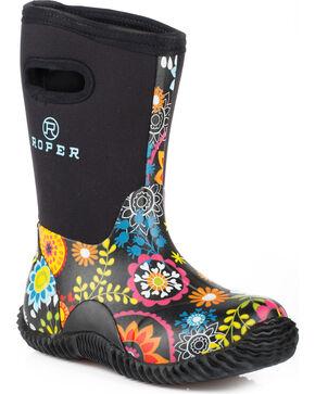 Roper Girls' Flower Garden Western Rubber Barn Boots - Round Toe, Black, hi-res