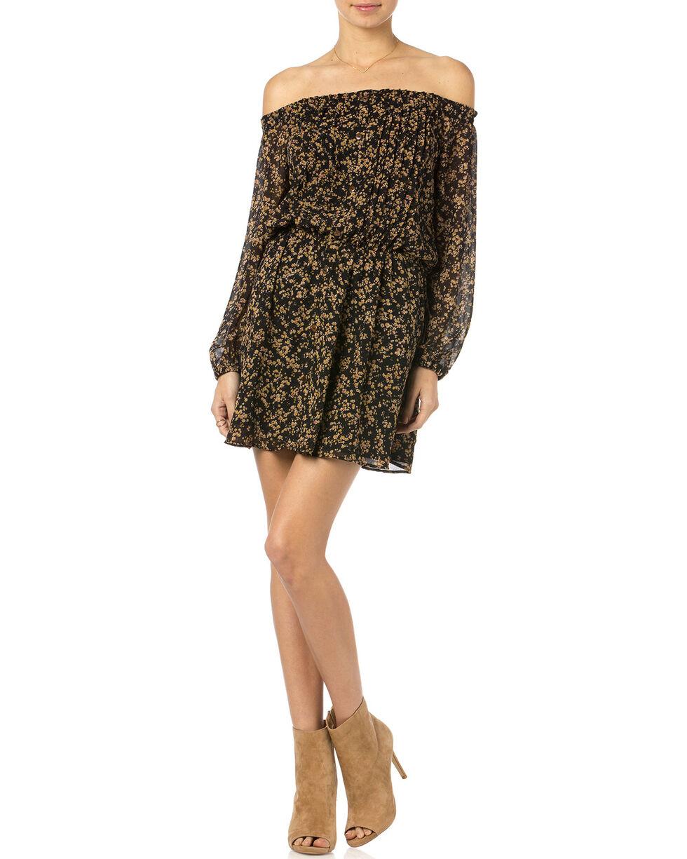 Miss Me Black and Gold Floral Off Shoulder Dress, , hi-res