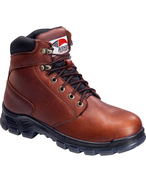 Avenger Men's Steel Toe Lace Up Work Boots, Brown, hi-res