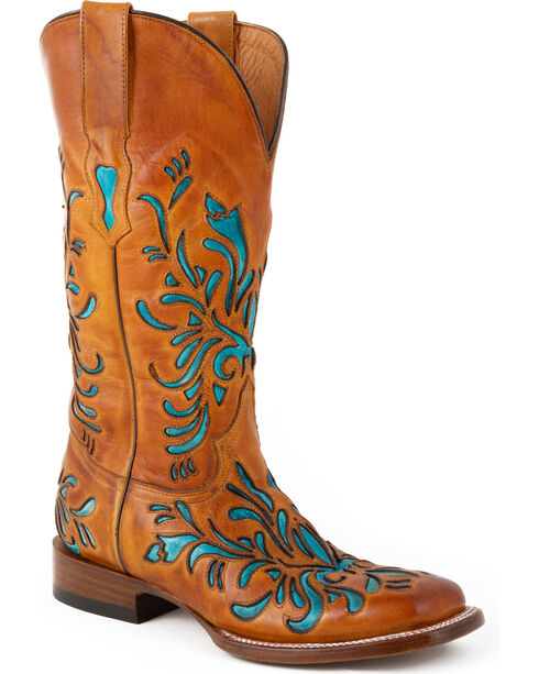 Stetson Women's Floral Underlay Western Boots, Brown, hi-res