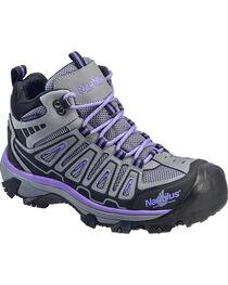 Nautilus Women's Grey and Purple Lightweight Waterproof Hiker Work Boots - Steel Toe , , hi-res
