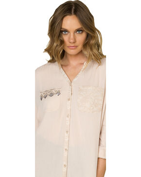 Miss Me Women's Sequined Sateen Top, Beige, hi-res