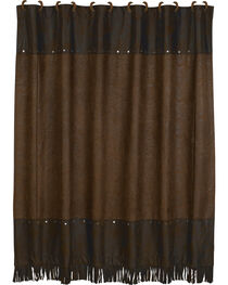 HiEnd Accents Caldwell Faux Tooled Leather Shower Curtain, , hi-res