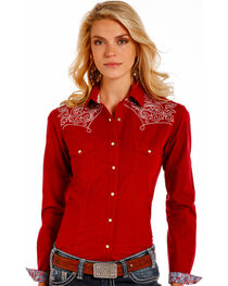 Rough Stock by Panhandle Women's Burgundy Checkered Embroidered Yoke Shirt, , hi-res