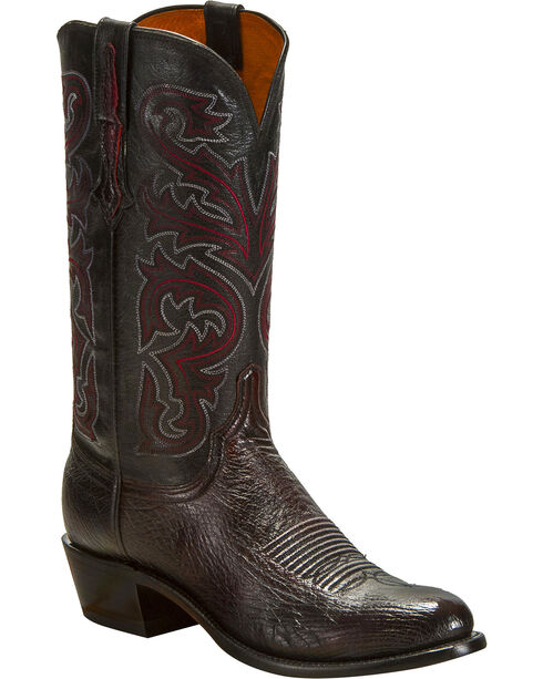 Lucchese Men's Handmade Black Cherry Nathan Smooth Ostrich Western Boots - Round Toe , Black Cherry, hi-res
