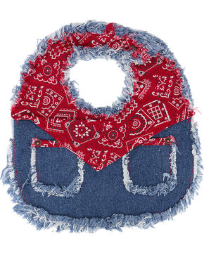 Baby Korral Infant's Paisley and Denim Bib, Red, hi-res