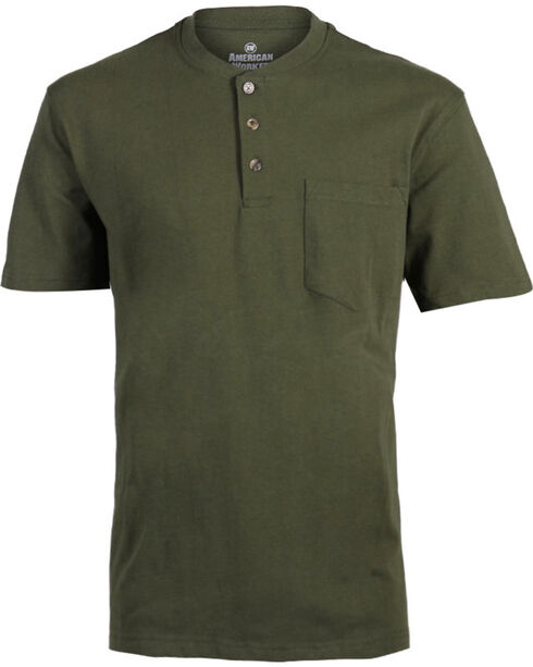 American Worker® Men's Solid Short Sleeve T-Shirt, Moss Green, hi-res