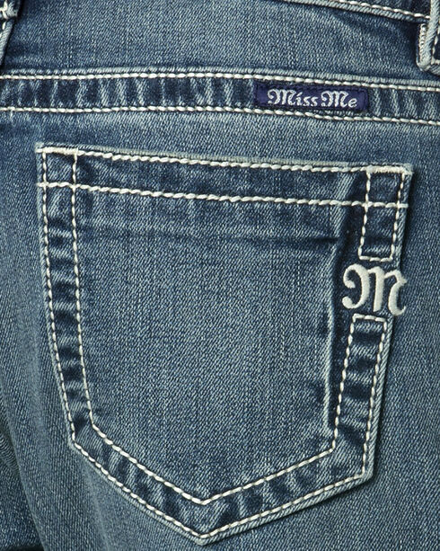 Miss Me Women's Rip Repair Boyfriend Fit Ankle Jeans , Indigo, hi-res