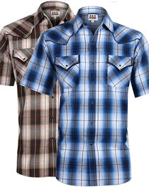 Ely Cattleman Men's Assorted Plaid Snap Short Sleeve Shirt, , hi-res