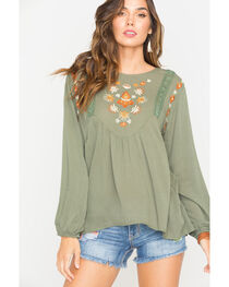 Miss Me Women's Green Embroidered Flowy Top , , hi-res