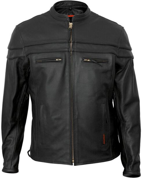 Interstate Leather Men's Rebel Motorcycle Jacket, Black, hi-res