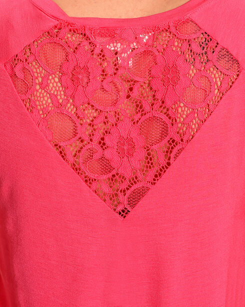 Derek Heart Women's Lace Back Short Sleeve Tee, Pink, hi-res