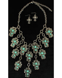 Blazin Roxx Turquoise Mosaic Cross Necklace & Earrings Set, , hi-res