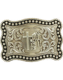 Nocona Men's Silver Cowboy Prayer Belt Buckle , , hi-res