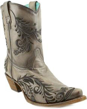 Corral Women's Western Embroidery Short Boots - SnipToe , Grey, hi-res