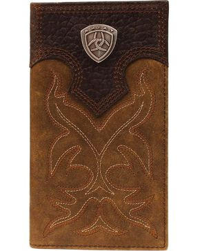 Ariat Men's Rodeo Check Book Wallet, Med Brown, hi-res