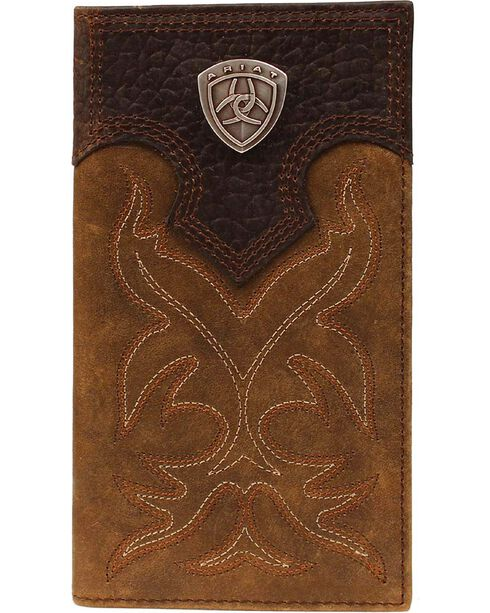 Ariat Men's Rodeo Check Book Wallet, Med Brown, hi-res