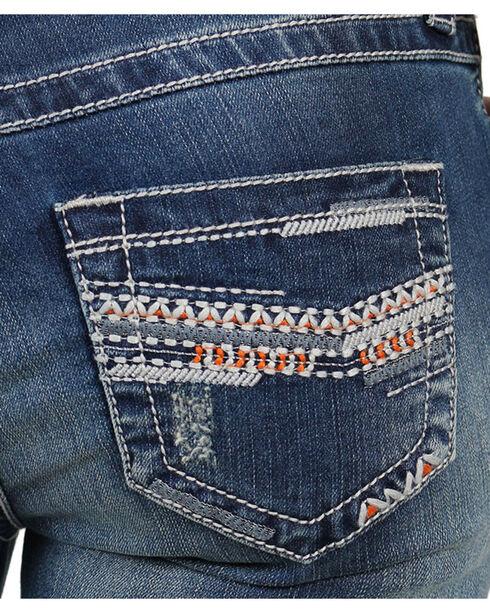 Shyanne® Women's Chevron Embroidered Capris, Blue, hi-res