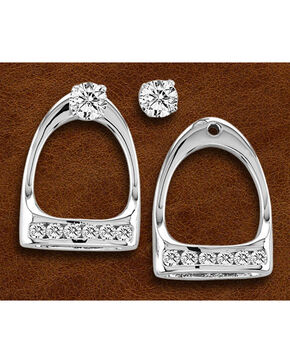 Kelly Herd Sterling Silver Large Rhinestone Stirrup Earrings, Silver, hi-res
