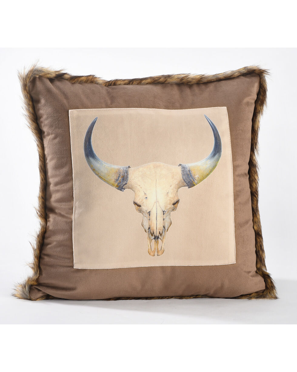 BB Ranch Cow Skull Faux Fur Trimmed Pillow, Brown, hi-res