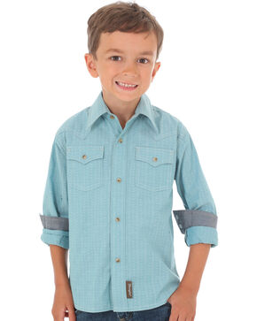 Wrangler Retro Boys' Teal Print Long Sleeve Snap Shirt, Teal, hi-res