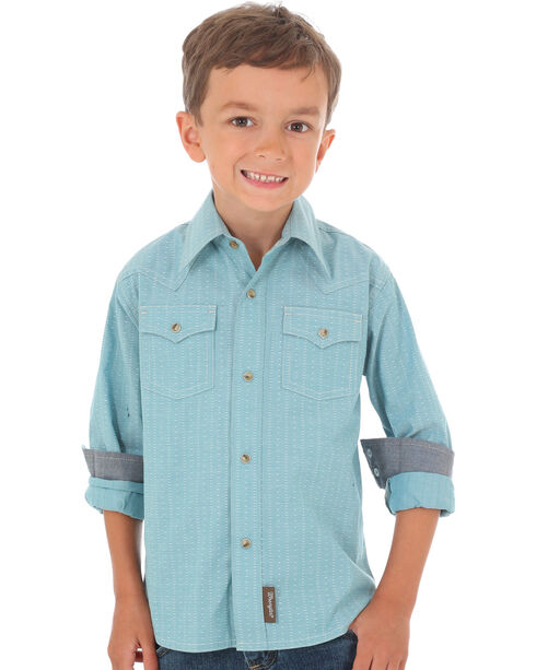 Wrangler Retro Boys' Teal Print Long Sleeve Snap Shirt, Teal, hi-res