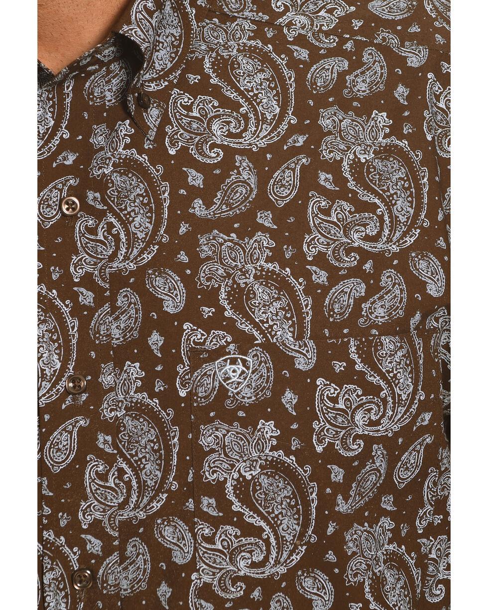 Ariat Men's Reeve Printed Long Sleeve Shirt, Brown, hi-res