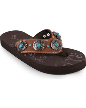 Shyanne® Women's Concho Sandals, Brown, hi-res