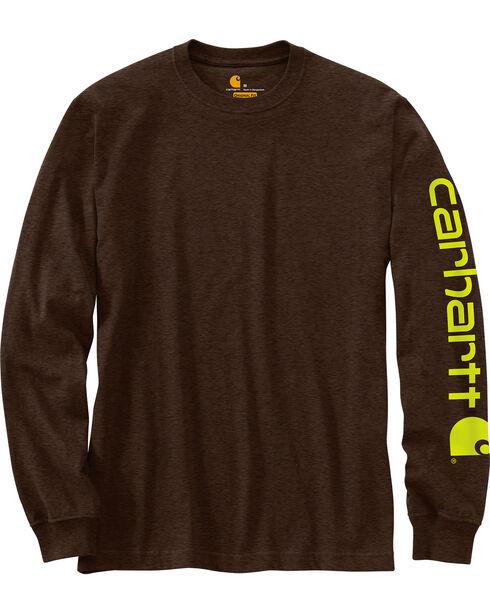 Carhartt Men's Dark Brown Signature Graphic Logo T-Shirt - Tall, Dark Brown, hi-res