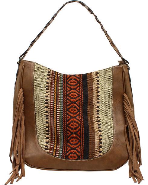 Blazin Roxx Multi-Fabric Fringe Shoulder Bag, Brown, hi-res