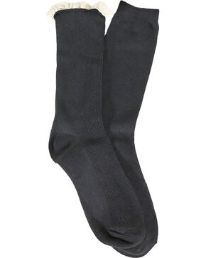 LeGale Women's Ruffle and Solid Boot Socks, Black, hi-res
