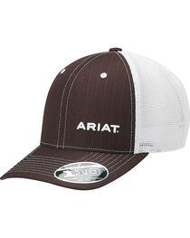 Ariat Men's Brown Pinstripe Pattern Baseball Cap , , hi-res