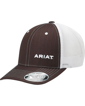 Ariat Men's Brown Pinstripe Pattern Baseball Cap , Brown, hi-res