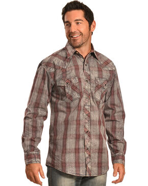 Crazy Cowboy Men's Distressed Red Plaid Western Snap Shirt  , Red, hi-res