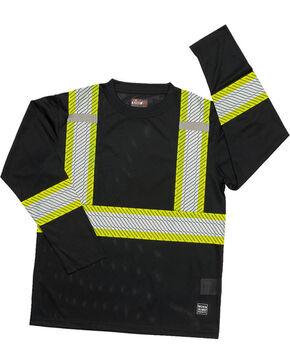 Work King Men's Segmented Reflective Stripes Long Sleeve T-Shirt - Big , Black, hi-res
