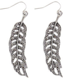 Shyanne® Women's Feather Dangle Earrings , , hi-res