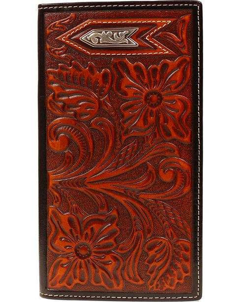 Ariat Tooled Arrow Concho Rodeo Wallet, Tan, hi-res