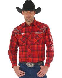 Wrangler Men's Red PBR Logo Shirt , , hi-res