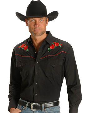 Ely Walker Men's Embroidered Rose Long Sleeve Western Shirt, Black, hi-res