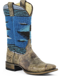 Stetson Roxanne Blue Serape Cowgirl Boots - Square Toe, , hi-res