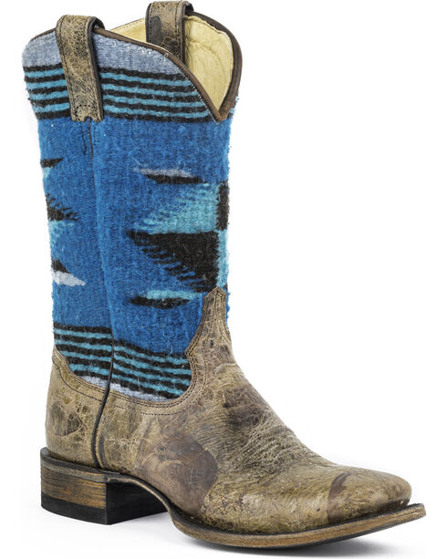 Stetson Roxanne Blue Serape Cowgirl Boots - Square Toe, Brown, hi-res