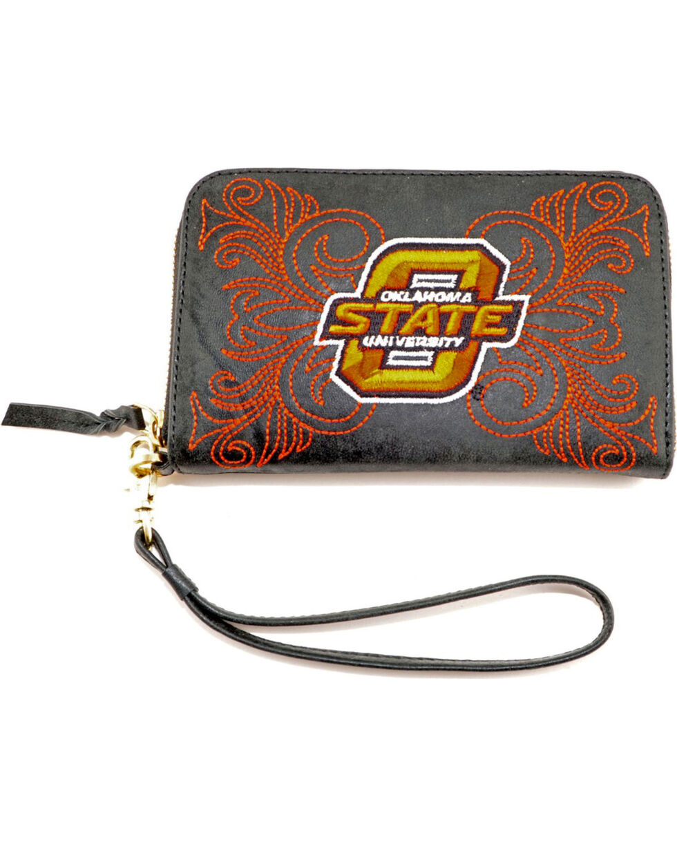 Gameday Boots Oklahoma State University Leather Wristlet, Black, hi-res