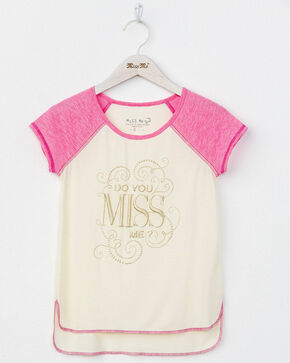 Miss Me Girls' Do You Miss Me T-Shirt, Pink, hi-res