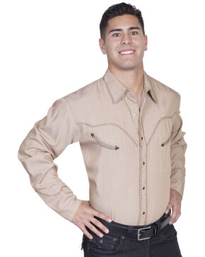 Scully Whip Stitched Denim Retro Western Shirt - Big & Tall, Tan, hi-res