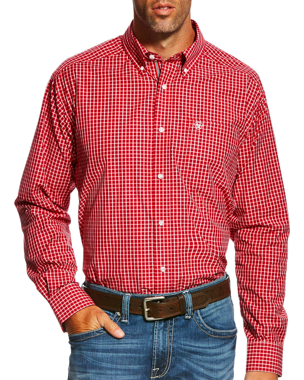 Ariat Men's Pro Series Gabriel Plaid Long Sleeve Button Down Shirt - Big & Tall, Red, hi-res