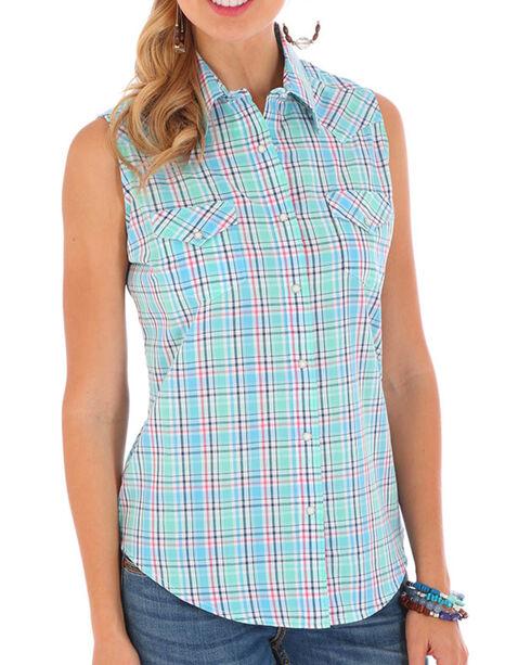 Wrangler Women's Plaid Sleeveless Shirt, Turquoise, hi-res