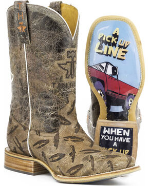 Tin Haul Men's Diamond Plate Western Boots, Tan, hi-res