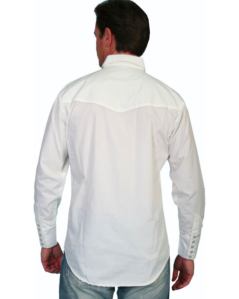 Scully Men's Tonal Embroidered Long Sleeve Shirt, White, hi-res