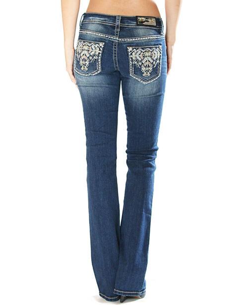 Grace in La Women's Tribal Embellishment Jeans - Boot Cut , Indigo, hi-res
