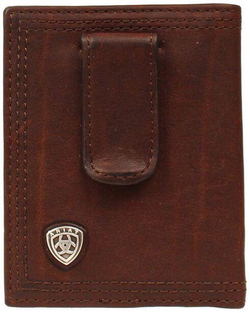 Ariat Logo Concho Clip Bi-fold Wallet, Copper, hi-res